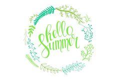 Hello summer lettering wreath. - Graphics - 1
