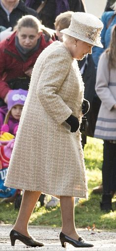 dailymail:  British Royal Family attends St Mary Magdalene Church at Sandringham, December 28, 2014-Queen Elizabeth