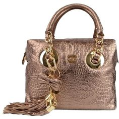 Pre-owned Just Cavalli Cavalli Metalic Gold Satchel ($484) ❤ liked on Polyvore featuring bags, handbags, metalic gold, brown purse, satchel handbags, holographic purse, gold metallic purse and metal purse