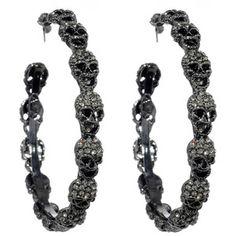 † Ɠℴ†ℎḯℭ † ༺♕✵♔༻╰☆╮ ♦dAǸ†㉫♦ Amrita Singh Skull Hoop Earrings Skull Earrings, Skull Jewelry, Gothic Jewelry, Cute Jewelry, Jewelry Accessories, Hoop Earrings, Jewellery, Western Jewelry, Hippie Jewelry