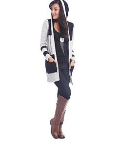 Hooded Striped Duster Cardi