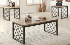 Acme Furniture Catalina Light Oak and Gray 3 Piece Coffee and End Table Set - 81550 Welded Furniture, Iron Furniture, Acme Furniture, Steel Furniture, Living Room Furniture, Furniture Design, Chair Design, Design Design, Modern Furniture