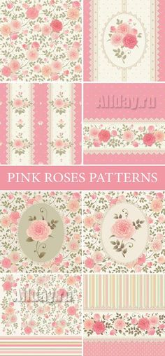 Pink Roses Patterns Vector