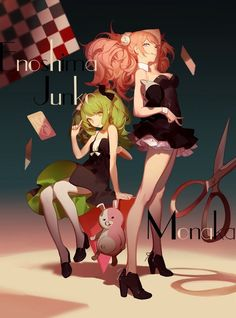grafika anime girl, enoshima junko, and towa monaka