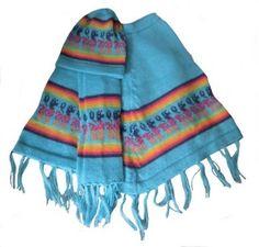 Set aus blauem peruanischem #Poncho mit #Mütze und #Schal aus Alpakawolle, 2 - 4 Jahre.