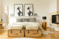 African posters, wicker boxes, fireplace and double … African posters, wicker boxes, fireplace and double bed with patterned pillows in a boho bedroom interior Boho Bedroom Diy, Modern Bedroom, Bedroom Decor, Bedroom Ideas, Home Design, Interior Design, African Bedroom, Bedroom Wall Colors, Bedroom Neutral