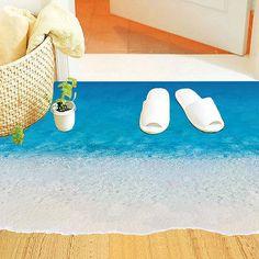 3D Sea Beach Floor Stickers Wall Sticker Bathroom Living Room Decal Mural Decor #Affiliate