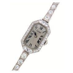Cartier Lady's Platinum and Diamond Art Deco Bracelet Watch