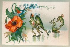 Very  Rare victorian trade card 1890's  Anthropomorphic card frog as human BA