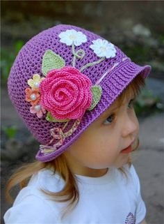 Creative DIY Adorable Crochet Flower Hats for Little Girls #craft #crochet #pattern #hat