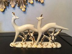 Soviet USSR Russian porcelain Running Deers by Verbilki by novcat on Etsy