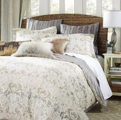 Damask bedroom décor done right. Gorgeous pillow arrangement.
