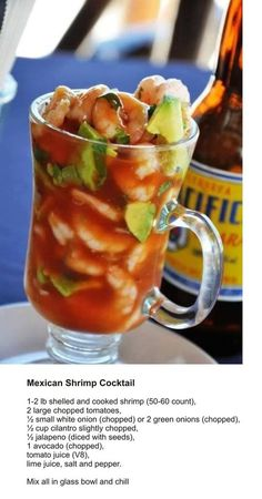 Coctel De Camarones (Mexican shrimp cocktail) - 1 lb shelled and cooked shrimp count) 2 large tomatoes chopped ½ small white onions chopped or 2 green onions ½ cup cilantro slightly. Fish Recipes, Seafood Recipes, Appetizer Recipes, Mexican Food Recipes, Cooking Recipes, Mexican Drinks, Mexican Snacks, Mexican Food Appetizers, Cooking Chef