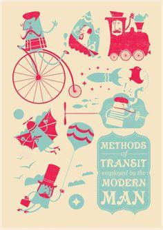 """""""Methods of Transit"""" by Jim Whittamore  aka Jim Bobbin, illustrator from Brighton, UK.   http://www.jimbobbin.com/viewer.php?id=7"""