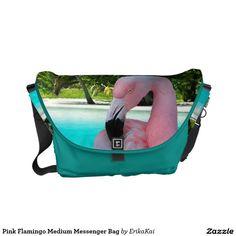 Pink Flamingo Medium Rickshaw Messenger Bag. Water resistant, extra durable. Interior and binding 20 color options.