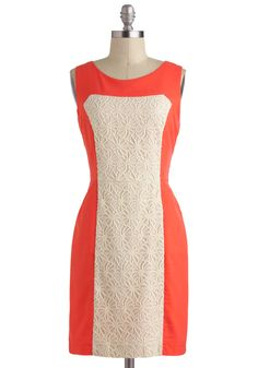Prim and Posh Dress - Orange, Lace, Sleeveless, Mid-length, White, Colorblocking, Sheath / Shift, Pockets, Daytime Party, 60s, Mod, Coral