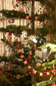 Swedish and Danish flags on the tree -- would indicate the nationality of the people in the house. ( Norwegians have these strings of flags too... it's our form of 'tinsel'.