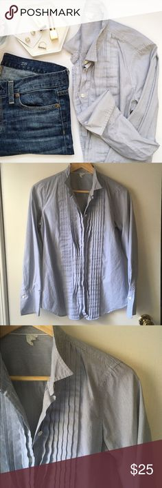 J. Crew Bib Button Down Shirt Bib front, pin stripes, button front, classic design. No flaws except second sleeve buttons missing -- can be replaced or just rolled up.   Jeans also available in my closet!👆🏻  🚫 Trades/🅿️🅿️ ✨ 100% Authentic 💵 Offers Welcome 💰 Bundle Discount 📬 Ships in 1-2 Days J. Crew Tops Button Down Shirts