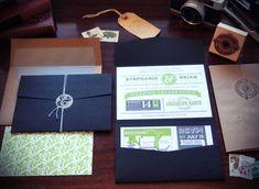 Vibrant navy + green invitation