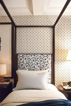 Thank you for pinning this @marybethreid! I have a bold black and white African print on my headboard and I've been struggling with what to do with wall color, drapes, etc. This is a great idea!