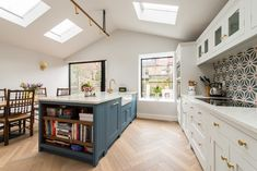 Victorian Kitchen Extension in London - Ideas and Inspiration - Bespoke Kitchens for Living In. Made in Kent, UK Navy Kitchen, Two Tone Kitchen, Toddler Proofing, Victorian Kitchen, Arts And Crafts House, Design Your Kitchen, Studio Kitchen, Bespoke Kitchens, Moving House