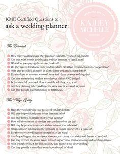 Wedding Planner. Questions for a wedding coordinator/ planner. via KME   http://www.kaileymichelle.com/blog/2012/02/the-revolution-of-the-pinterest-wedding-planner/