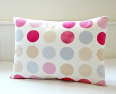 rose pink cerise pale lilac beige large dots by LittleJoobieBoo