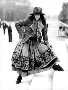 """Vivienne Westwood's Radically Chic Nostalgia of Mud (A model wearing the mountain hat from Westwood's 1982 """"Nostalgia of Mud"""" collection)"""