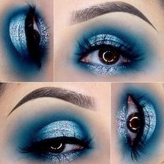"""For the glitter she used PEACOCK"""" from @GLITTERINJECTIONS.  @anastasiabeverlyhills Dipbrow in """"chocolate"""". @morphebrushes 35C palette. And """"Sugar"""" in the center from @colourpopcosmetics"""