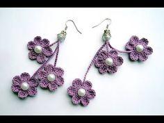 Aretes tejidos a ganchillo - YouTube Crochet Earrings Pattern, Crochet Jewelry Patterns, Crochet Designs, Crochet Videos, Sterling Silver Hoops, Crochet Flowers, Flower Patterns, Crochet Baby, Diy And Crafts