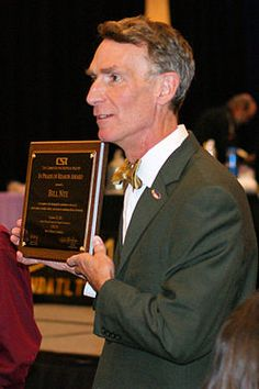 """William Sanford """"Bill"""" Nye (born November 27, 1955), popularly known as Bill Nye the Science Guy, is an American science educator, comedian, television host, actor, mechanical engineer, and scientist."""