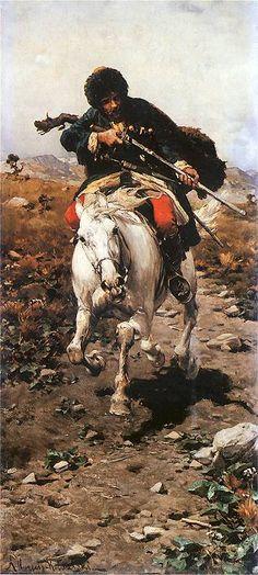 Alfred Wierusz-Kowalski 1849-1915 (Polish), Strzelający Czerkies na koniu, oli on canvas, 1885