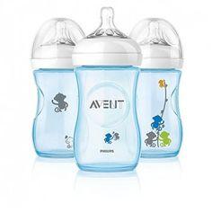 Kit de Mamadeiras Philips Avent com Bico de Fluxo Lento Anti-Cólica e sem BPA Macaquinhos - 266 ml Azul  Trio perfeito!