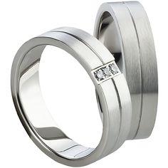 da2f567d3 Snubní prsteny T816 Snubní prsteny vyrobeny z chirurgické oceli rovného  profilu s matnou povrchovou úpravou. Dámská varianta je doplněna zirkony.