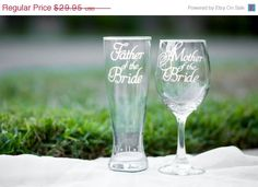 ON SALE Mother of the Bride Glass and Father of the Bride Glass Style #2 (Choose your glass) with Wedding Date on Base Hand Etched Set of 2 by EVerre on Etsy https://www.etsy.com/listing/193755482/on-sale-mother-of-the-bride-glass-and