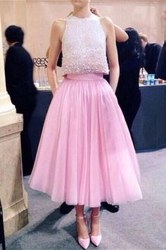 Pink Two Pieces Beading Long A-line Prom Dresses For Teens,Sparkly Prom Dress,Modest Prom Gowns,Beautiful Party Dresses,Graduation Dresses