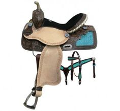 "15"" Double T Barrel Saddle Set w/Reins, Headstall & Breastcollar - Dark Oil/Teal Alligator"