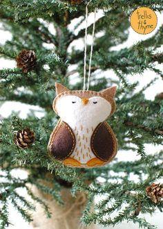 PDF Pattern - Woodland Owl, Winter Felt Ornament Pattern, Christmas Ornament, Softie Pattern