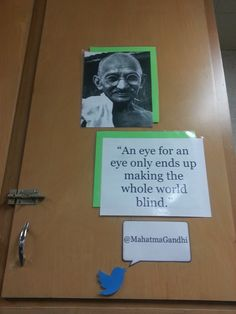 Middle School Classroom Locker Decoration: Inspirational People with Quote Mahatma Gandhi (Technology Twitter Theme)