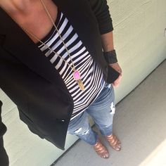 Black blazer + striped tee + pink Kendra Scott Rayne necklace + jeans + caged sandals  [instagram - @ie4style ]