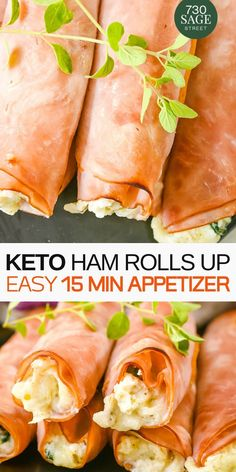This Keto Low Carb Ham Roll Ups is made with Ricotta Cheese and Spinach. It tastes delicious and it is quick to ma Roll Ups Recipes, Low Carb Recipes, Diet Recipes, Healthy Recipes, Recipes Using Ricotta Cheese, Recipe Using Ricotta, Ham Roll Ups, Ham And Cheese Roll Ups, Low Carb Appetizers