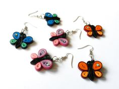 Quilling paper butterflies earrings pink blue orange handmade