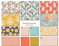 Crib Bedding- Design Your Own Crib Set- Sweet as Honey-Spring- aqua, coral, yellow on Etsy, $25.00