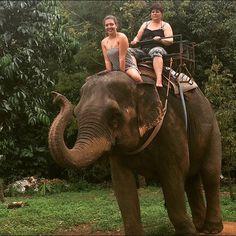 Sexy Woman riding bareback on an Elephant in the Jungle/Sexy Frau reitet sattelos auf einem Elefant im Dschungel . #kohchang#dschungel#elefantenbaden#banchangthai#elephantcamp
