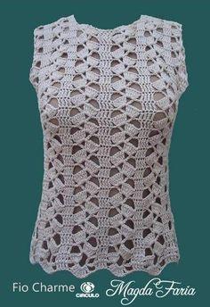 Discover thousands of images about ⭐️ Blusa sin mangas ⭐️ Blusas tejidas ⭐️ Esquemas de Ganchillo Débardeurs Au Crochet, Lidia Crochet Tricot, Crochet Tunic Pattern, Gilet Crochet, Crochet Shirt, Crochet Woman, Easy Crochet Patterns, Crochet Stitches, Knitting Patterns