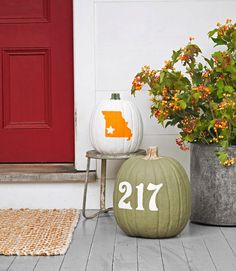 Pumpkin Decorating Ideas: Add your house numbers and state outline to pumpkins