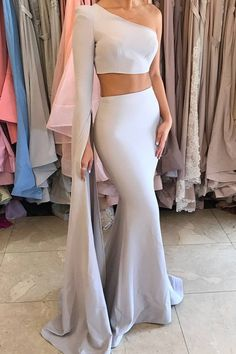 Special Two Piece One Shoulder Long Sleeves Floor Length Grey Mermaid Prom Dress by prom dresses, $148.00 USD