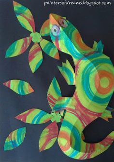 Dream Painters: Chameleons & My Personal Glue Journey.great chameleon lesson with link to video Chameleon Craft, Mixed Up Chameleon, Monet, Elementary Art Lesson Plans, 3rd Grade Art, Third Grade, Insect Crafts, Animal Art Projects, Lizards