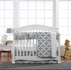 New! Grey Trellis Bumperless Crib Bedding - fabulous quatrefoil pattern by Liz and Roo