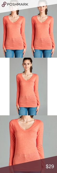 Fall Basic V Neck - Coral Super comfy! Perfect for fall and winter layering! Fitted look. 60% Cotton 40% Polyester. No trades. Kyoot Klothing Tops